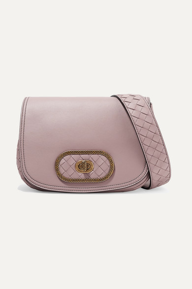 Luna Small Intrecciato Leather Shoulder Bag in Antique Rose