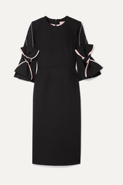 Bow-embellished satin-trimmed crepe dress