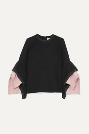 Ruffled two-tone cady top