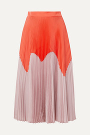 Two-tone pleated satin midi skirt
