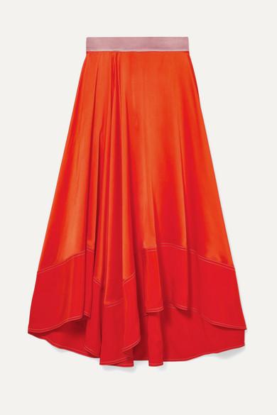 ROKSANDA Shona Asymmetric Silk-Satin Midi Skirt in Orange