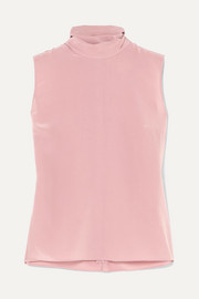 Bow-detailed silk crepe de chine top