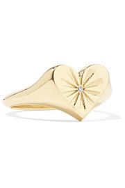 Heart 14-karat gold diamond ring