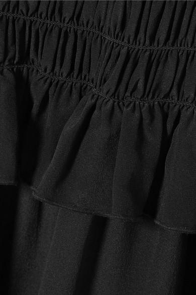 Tory Burch Beachwear Smocked silk crepe de chine jumpsuit
