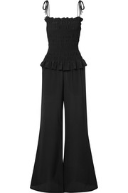 Smocked silk crepe de chine jumpsuit