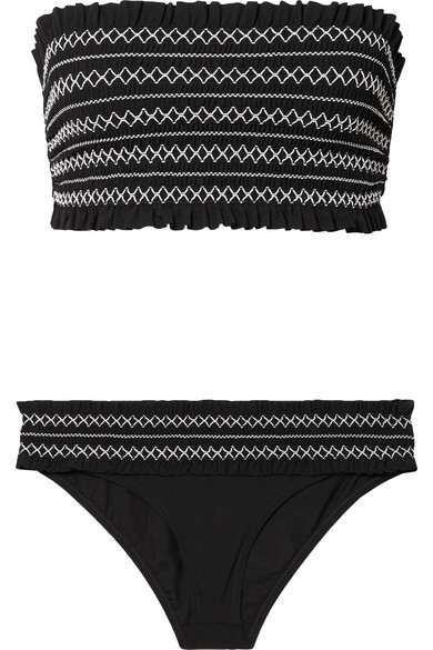 Costa Embroidered Hipster Swim Bikini Bottom in Black