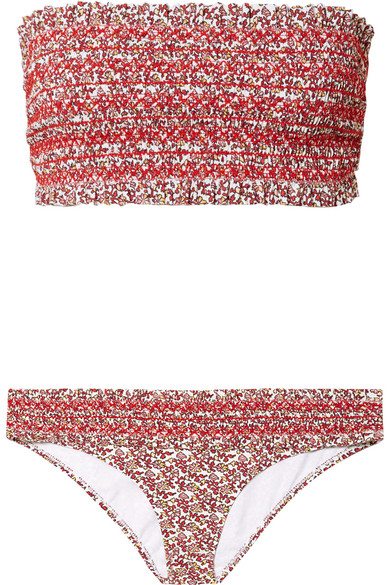 Tory Burch Beachwear Costa smocked floral-print bandeau bikini