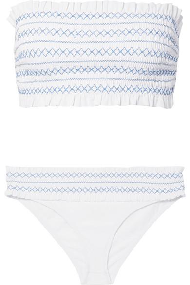 Costa Smocked Bandeau Bikini Swim Top in White