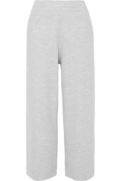 VARLEY | Varley - Navarro Cropped Stretch Cotton-blend Jersey Track Pants - Gray | Goxip