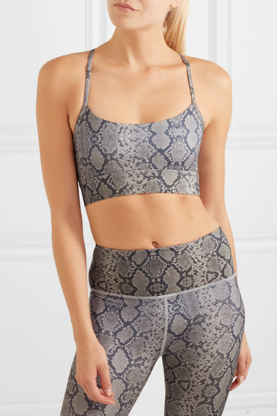9ef5a8a755 Feliz mesh-paneled snake-print stretch sports bra