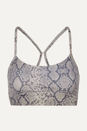 Varley Feliz mesh-paneled snake-print stretch sports bra
