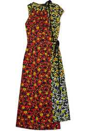 Asmmetric floral-print georgette dress