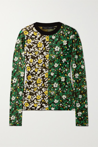 Bicolor Silk Jacquard Floral Sweater in Green