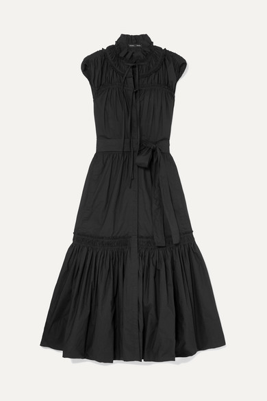 Sleeveless Shirred Cotton Tiered Maxi Dress W/ Self-Belt in Black
