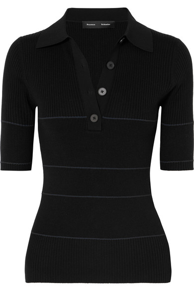 Short-Sleeve Striped Polo Sweater in Black