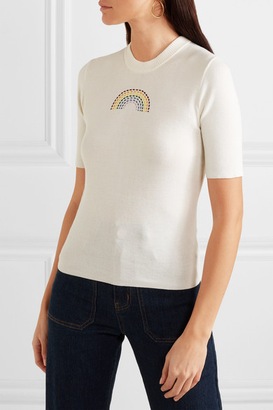 585131bcdc STAUD | Public embroidered ribbed cotton T-shirt | NET-A-PORTER.COM