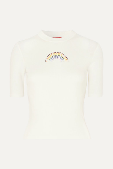 b74363fd84 Public embroidered ribbed cotton T-shirt