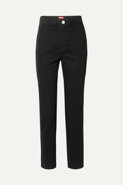 Blonde two-tone high-rise slim-leg jeans