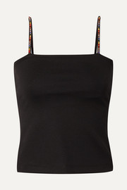 STAUD Eleven crystal-embellished stretch-cady camisole