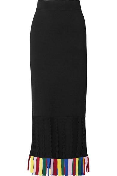 Garage Cutout Fringed Stretch-Knit Midi Skirt in Black