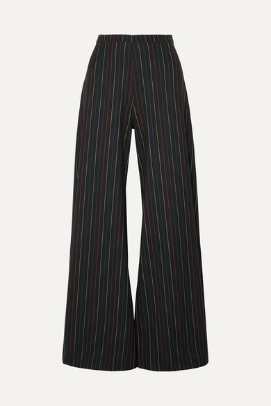 STAUD | STAUD - Dune Striped Crepe Wide-leg Pants - Black | Goxip