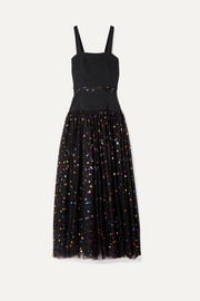 STAUD Scarla cady and metallic polka-dot tulle gown