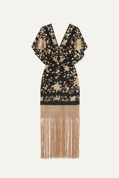 Macramé-Trimmed Embroidered Silk Maxi Dress in Black