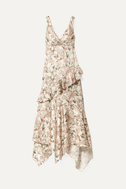 Divine Intervention ruffled asymmetric printed silk-satin maxi dress