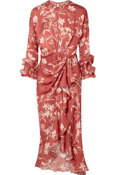 fb70adce36 Botanical Gardens ruffled wrap-effect silk-satin twill midi dress