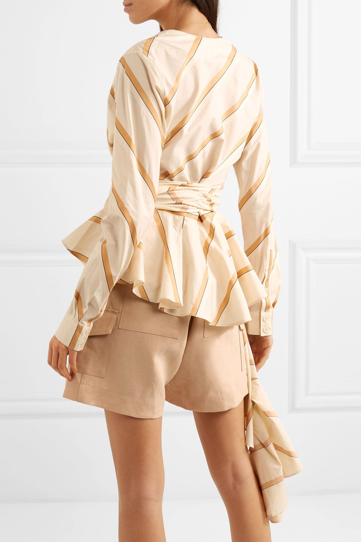 Johanna Ortiz Party Wave striped cotton-poplin blouse
