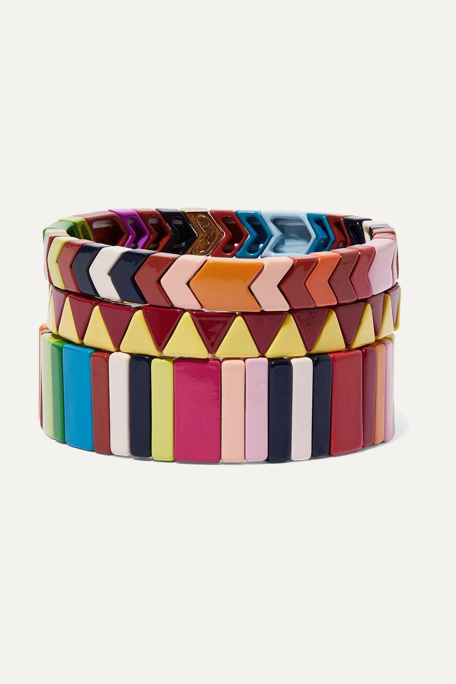 록산느 애슐린 팔찌 Roxanne Assoulin Picnic Blanket set of three enamel bracelets,Yellow