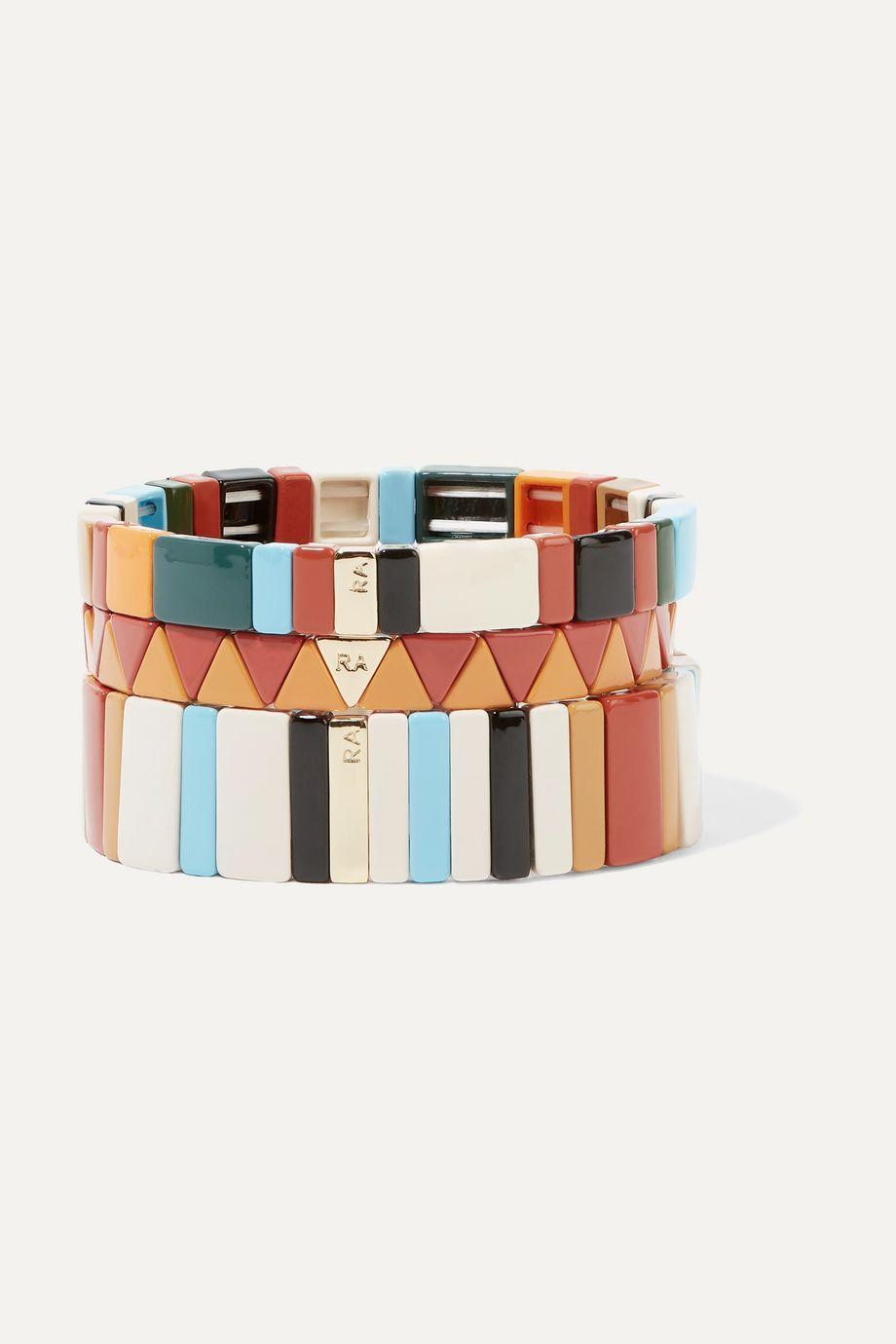 록산느 애슐린 팔찌 Roxanne Assoulin Canyon set of three enamel bracelets,Orange