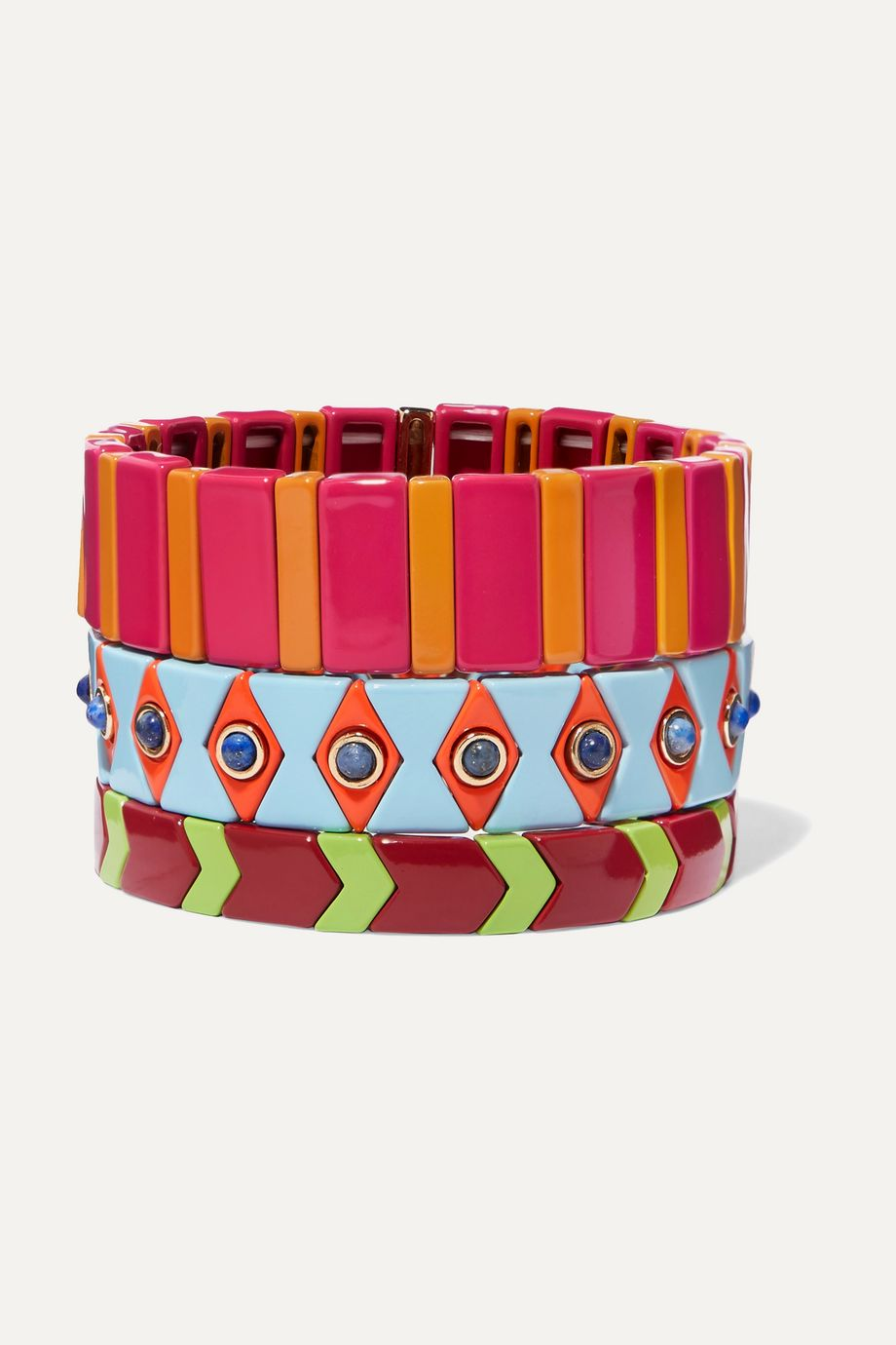 록산느 애슐린 팔찌 Roxanne Assoulin Drawing Room set of three enamel bracelets,Fuchsia