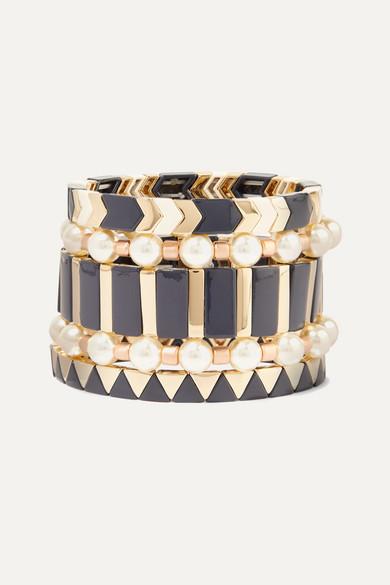 ROXANNE ASSOULIN Suit Up Set Of Five Gold-Tone, Enamel And Faux Pearl Bracelets in Black