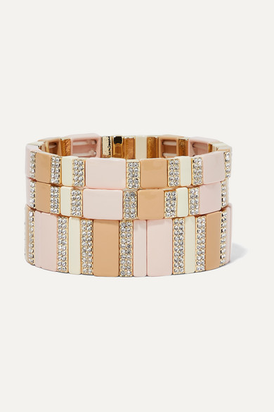 ROXANNE ASSOULIN Pink Sand Set Of Three Enamel, Gold-Tone And Crystal Bracelets in Beige
