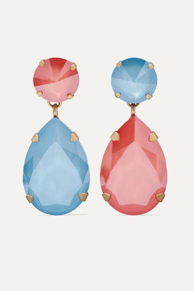 Roxanne Oulin Hip Hop But Not Gold Tone Swarovski Crystal Clip Earrings In Blue