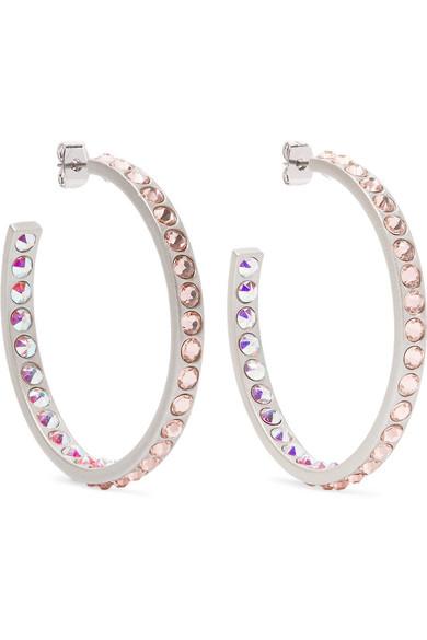 Hoop Dreams Silver Tone Crystal Earrings by Roxanne Assoulin