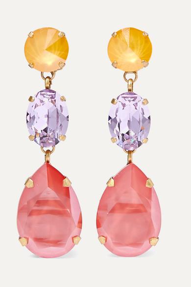 ROXANNE ASSOULIN Gold-Tone Swarovski Crystal Clip Earrings in Pink