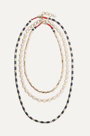 Roxanne Assoulin Suit Up set of three gold-tone, enamel and faux pearl necklaces