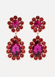 Roxanne Assoulin Over The Top gold-tone crystal clip earrings