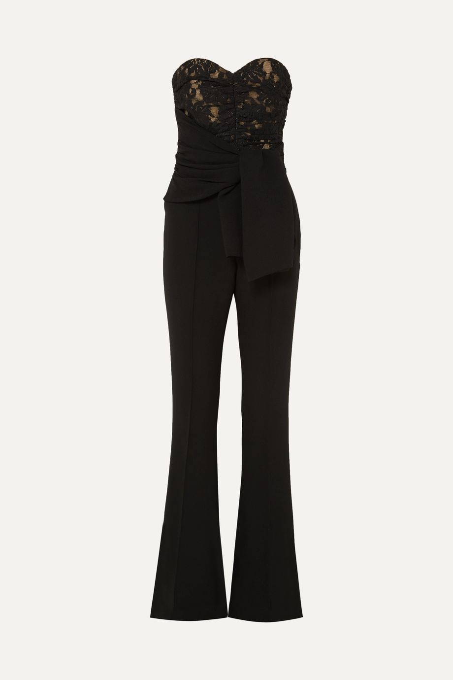 Rebecca Vallance Betty strapless lace and crepe jumpsuit