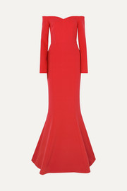 L'Amour off-the-shoulder crepe gown