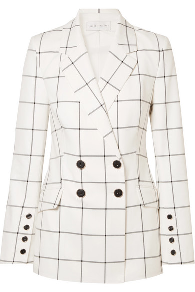 REBECCA VALLANCE Pierre Double-Breasted Checked Twill Blazer in Ivory