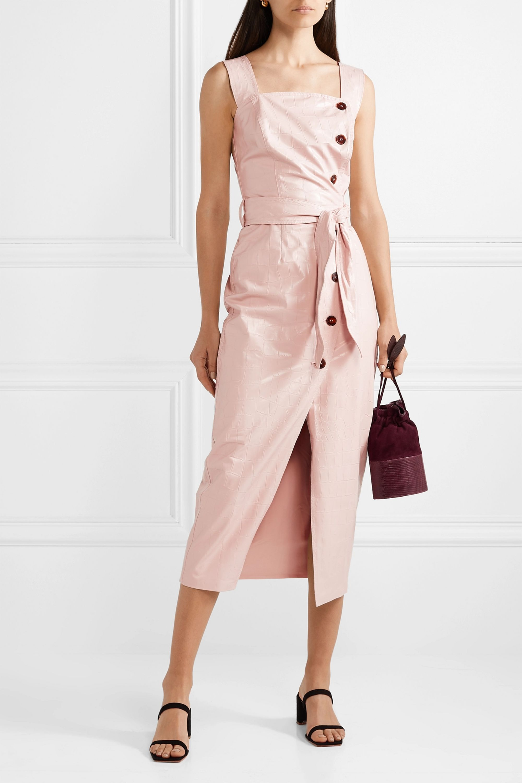 Nanushka Zora croc-effect vegan leather wrap-effect midi dress