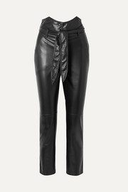 Ethan belted vegan leather straight-leg pants