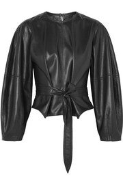 Corsa tie-detailed vegan faux leather blouse