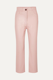 Croc-effect vegan faux leather straight-leg pants