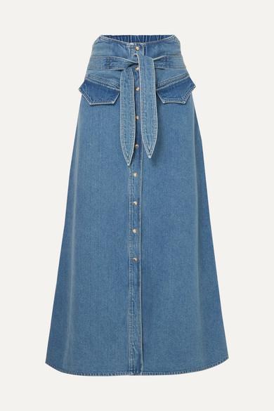 Alma Belted Denim Midi Skirt in Mid Denim