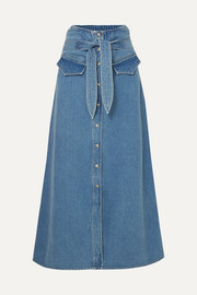 Nanushka Alma belted denim midi skirt