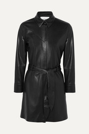 Gisele belted faux leather mini dress